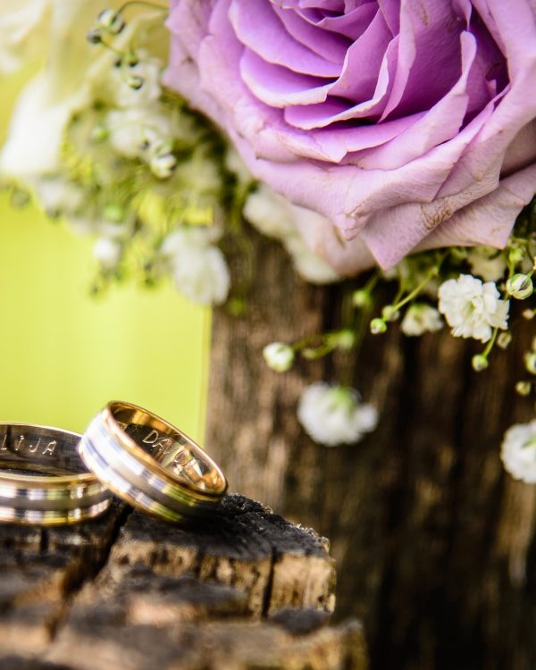 wedding rings and purple rose