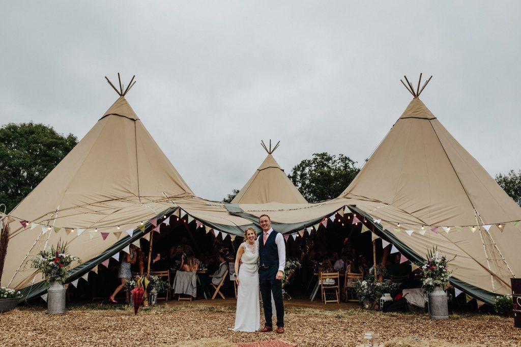 pennard hill farm wedding couple tipi