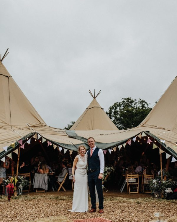 pennard hill farm wedding couple tipi
