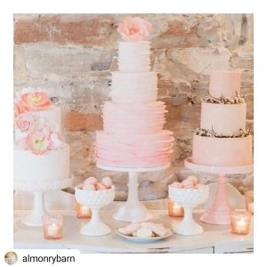 almonry barn pink cakes instagram somerset wedding