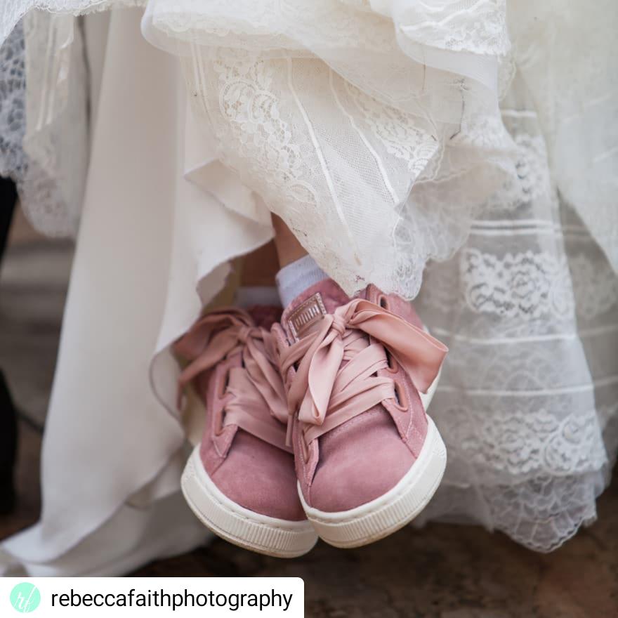 rebecca faith pink trainers wedding