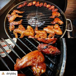 bbq chicken over charcoal grill