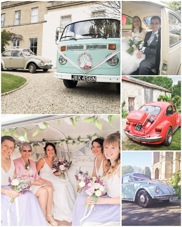 composite picture of VW camper van, VW beetles and bridal parties in the vehicles
