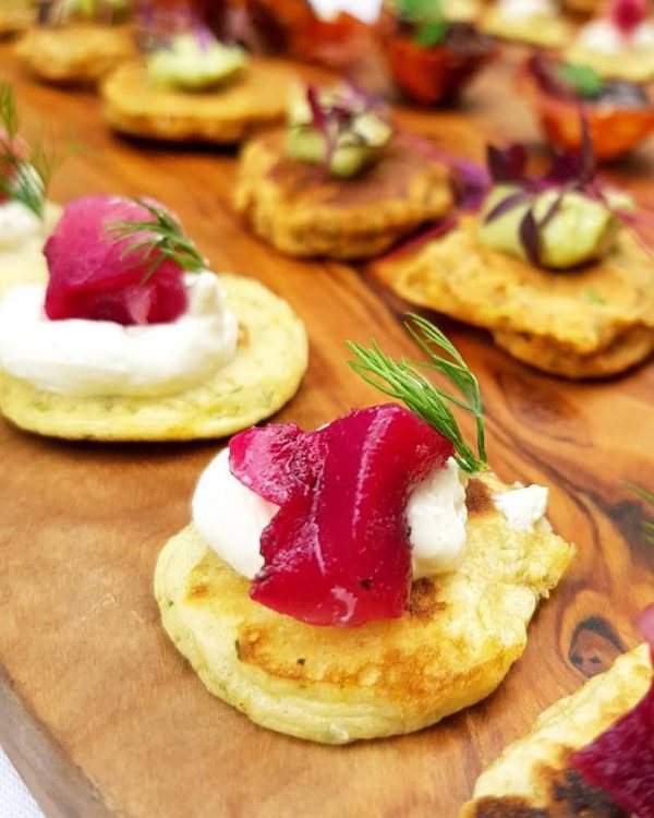 modern canapes on wooden board