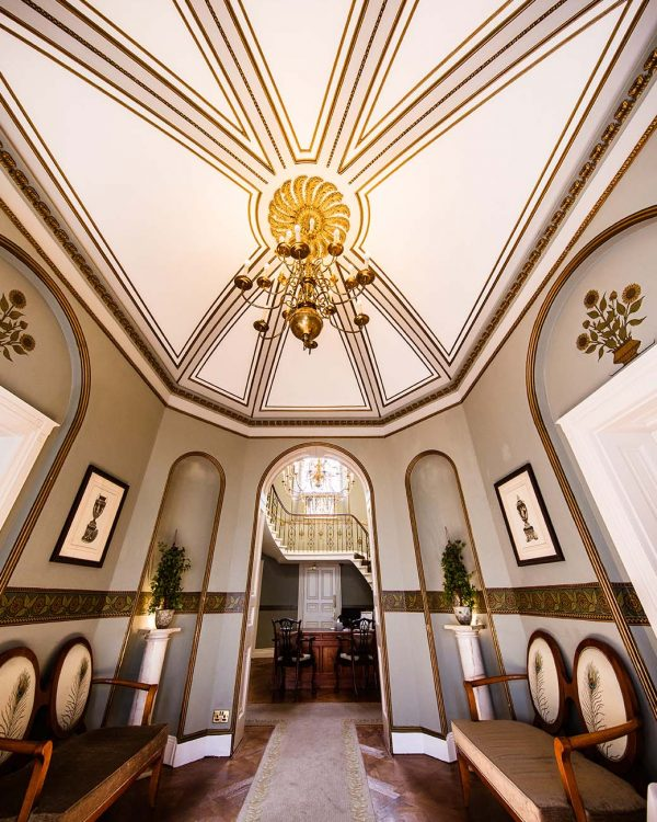 luxurious hotel interior with vaulted ceiling