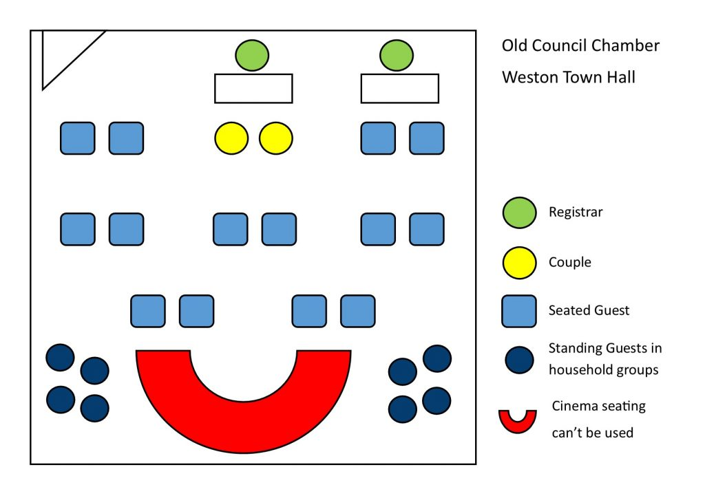 room plan for old council chamber, weston town hall